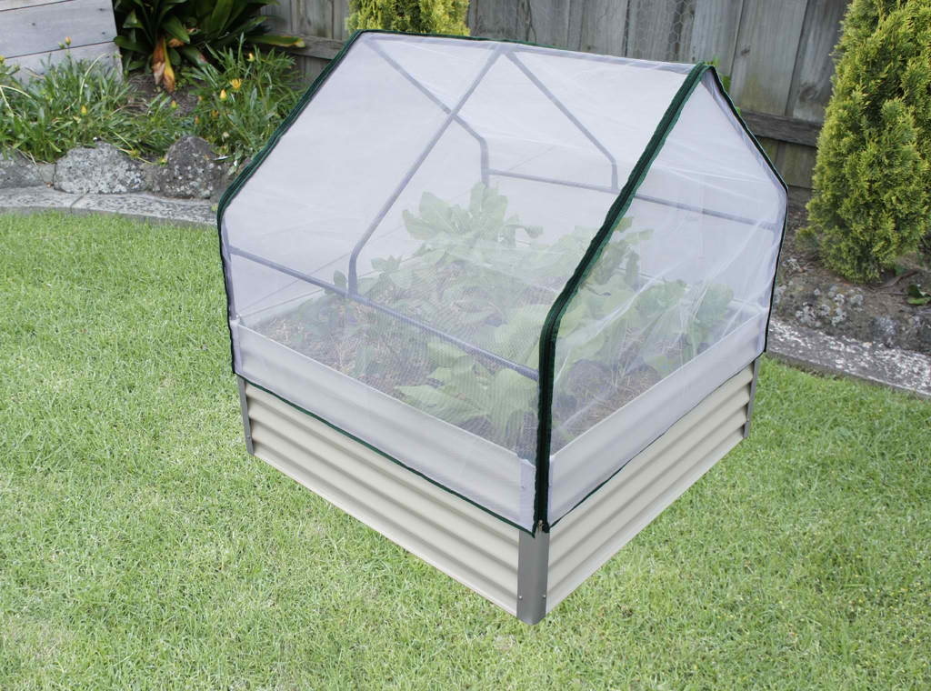 Raised Garden Bed with Netting and Greenhouse